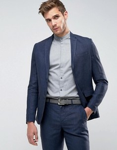 Приталенный льняной пиджак Jack & Jones Premium - Темно-синий