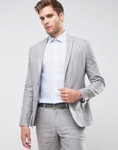 Приталенный льняной пиджак Jack & Jones Premium - Серый