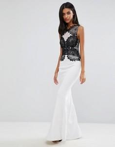 Монохромное платье макси с кружевом и юбкой годе Lipsy - Белый