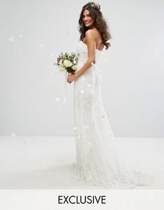 Платье-бандо макси с отделкой Amelia Rose Bridal - Кремовый