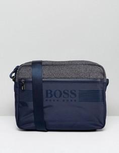 Темно-синяя сумка почтальона из разных видов ткани BOSS Green by Hugo Boss - Темно-синий
