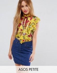 Желтая блузка без рукавов с цветочным принтом и рюшами ASOS PETITE - Мульти
