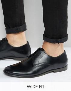 Кожаные туфли дерби для широкой стопы ASOS - Черный
