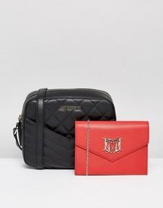 Стеганая сумка через плечо с карманами Love Moschino - Черный
