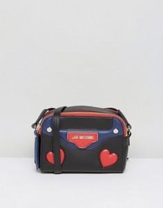 Сумка через плечо с принтом сердец Love Moschino - Черный