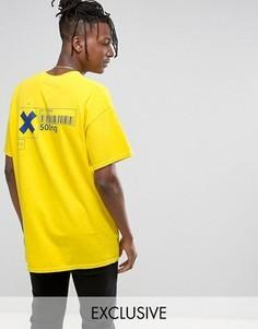 Oversize-футболка с принтом на спине Reclaimed Vintage Inspired - Желтый