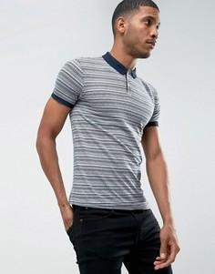 Жаккардовая футболка-поло в полоску D-Struct - Темно-синий