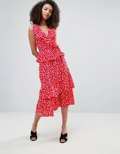 Ярусная юбка миди с цветочным принтом Influence - Красный