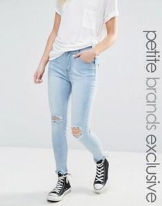 Супероблегающие мраморные джинсы с прорехами Liquor & Poker Petite - Синий
