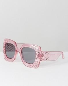 Большие квадратные солнцезащитные очки с декоративной отделкой ASOS - Розовый
