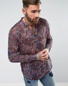 Рубашка классического кроя с завязкой и принтом пейсли ASOS - Мульти