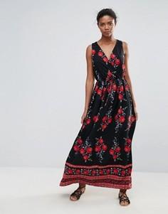 Платье макси с принтом Parisian - Черный