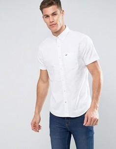 Эластичная оксфордская рубашка слим с короткими рукавами Hollister - Белый