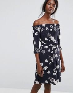 Платье с цветочным принтом и открытыми плечами Selected Rosanna - Синий
