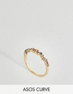 Кольцо с разноцветными камнями ASOS CURVE - Мульти