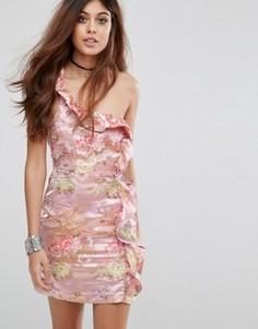 Платье на одно плечо с цветочным узором Glamorous - Розовый