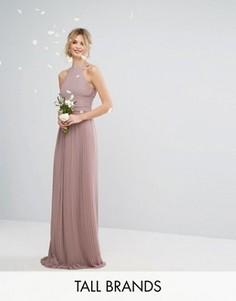 Плиссированное платье макси с высоким воротником TFNC Tall Wedding - Розовый