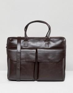 Кожаная сумка для ноутбука с двумя карманами Royal Republiq Courier - Коричневый