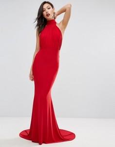 Платье макси с высоким воротом, плиссировкой и годе Club L - Красный