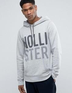 Худи классического кроя из серого меланжа с принтом и логотипом Hollister - Серый