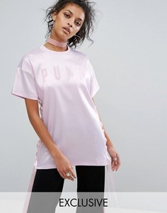 Длинная атласная футболка на шнуровке Puma эксклюзивно для ASOS - Фиолетовый