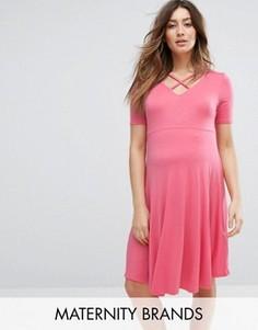 Короткое приталенное платье для беременных New Look - Оранжевый