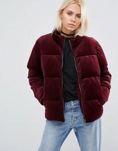Вельветовая дутая куртка ASOS - Красный