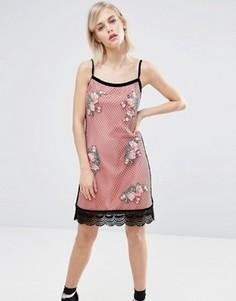 Сетчатое платье с вышивкой House of Holland - Розовый