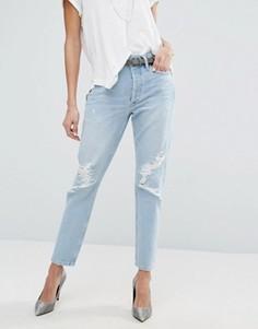 Прямые джинсы с завышенной талией и прорехами AGOLDE Jamie - Синий