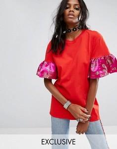 Oversize-футболка с оборками на рукавах Reclaimed Vintage Inspired - Красный
