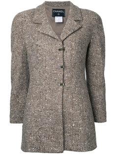 твидовый пиджак с длинными рукавами  Chanel Vintage