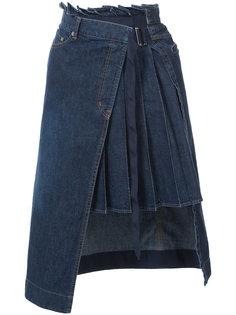 джинсовая плиссированная юбка  Sacai