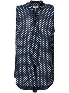 блузка в горох с воротником на завязке Lagence