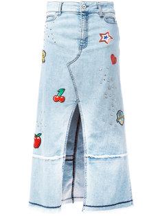 джинсовая юбка мини с нашивками Just Cavalli