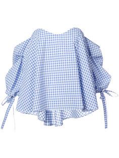 клетчатая блузка с открытыми плечами Caroline Constas