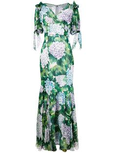 платье-макси с принтом гортензий Dolce & Gabbana