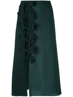 юбка-миди с бантами над боковым разрезом Fendi
