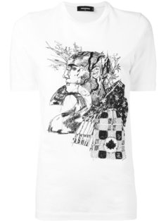 футболка с принтом наброска Dsquared2