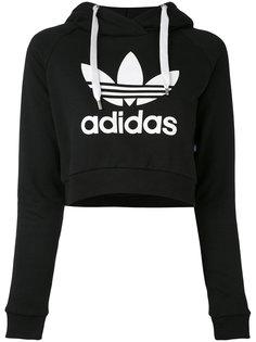 укороченная толстовка с логотипом и капюшоном Adidas