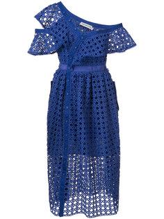 расклешенное платье с открытой вышивкой Self-Portrait
