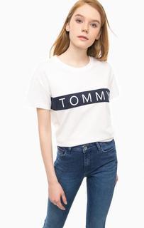 Белая футболка с контрастным принтом Hilfiger Denim