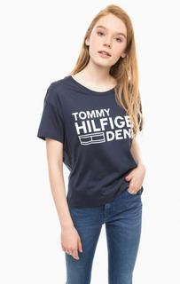 Синяя футболка с контрастным принтом Hilfiger Denim