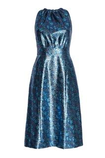 Платье с цветочным принтом Prada