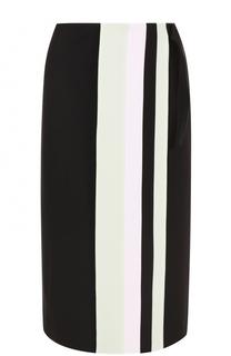 Шелковая юбка с контрастной отделкой Victoria by Victoria Beckham