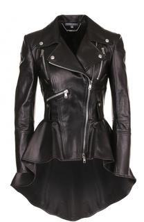 Кожаная куртка ассиметричного кроя с косой молнией Alexander McQueen