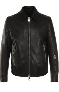 Кожаная куртка на молнии с отложным воротником Neil Barrett