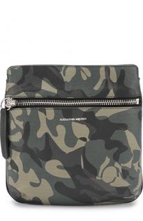 Кожаная сумка-планшет с камуфляжным принтом Alexander McQueen