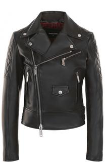 Приталенная кожаная куртка с косой молнией Dsquared2