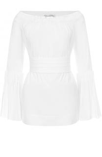 Блуза с поясом и открытыми плечами Oscar de la Renta