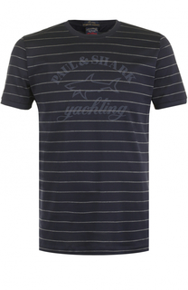 Хлопковая футболка в контрастную полоску Paul&Shark Paul&Shark